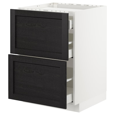 METOD Base cab f hob/2 fronts/3 drawers, white/Lerhyttan black stained, 60x60 cm