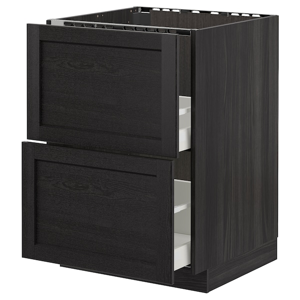 METOD Base cab f sink+2 fronts/2 drawers, black/Lerhyttan black stained, 60x60 cm