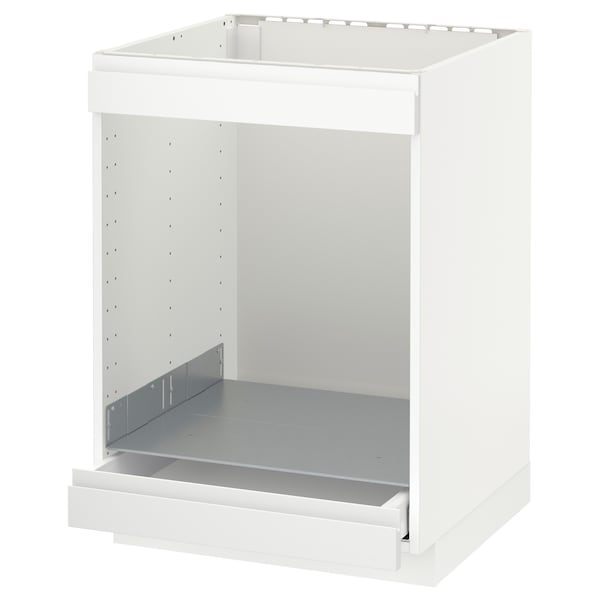 METOD Base cab for hob+oven w drawer, white/Voxtorp matt white, 60x60 cm