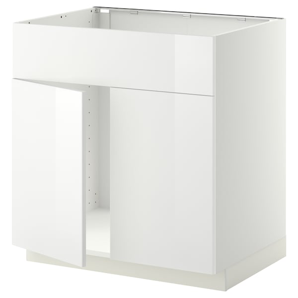 METOD Base cabinet f sink w 2 doors/front, white/Ringhult white, 80x60 cm