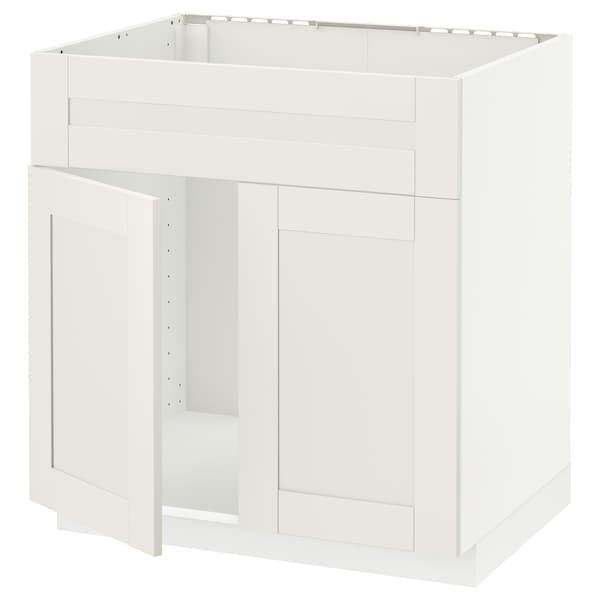METOD Base cabinet f sink w 2 doors/front, white/Sävedal white, 80x60 cm