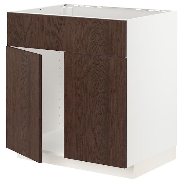 METOD Base cabinet f sink w 2 doors/front, white/Sinarp brown, 80x60 cm