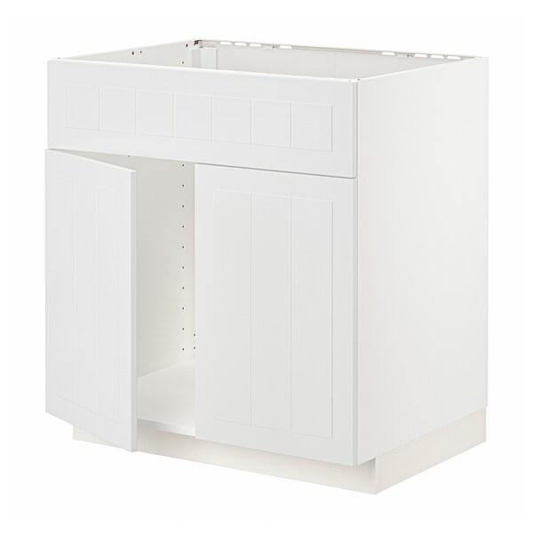 METOD Base cabinet f sink w 2 doors/front, white/Stensund white, 80x60 cm