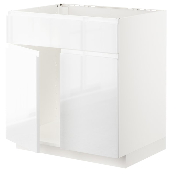 METOD Base cabinet f sink w 2 doors/front, white/Voxtorp high-gloss/white, 80x60 cm