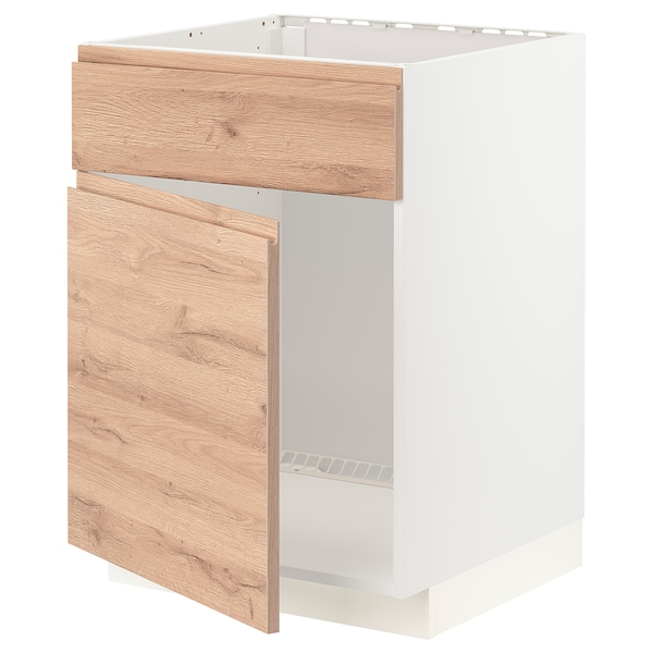 METOD Base cabinet f sink w door/front, white/Voxtorp oak effect, 60x60 cm