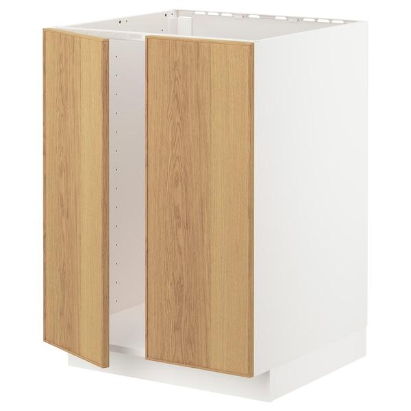 METOD Base cabinet for sink + 2 doors, white/Ekestad oak, 60x60 cm