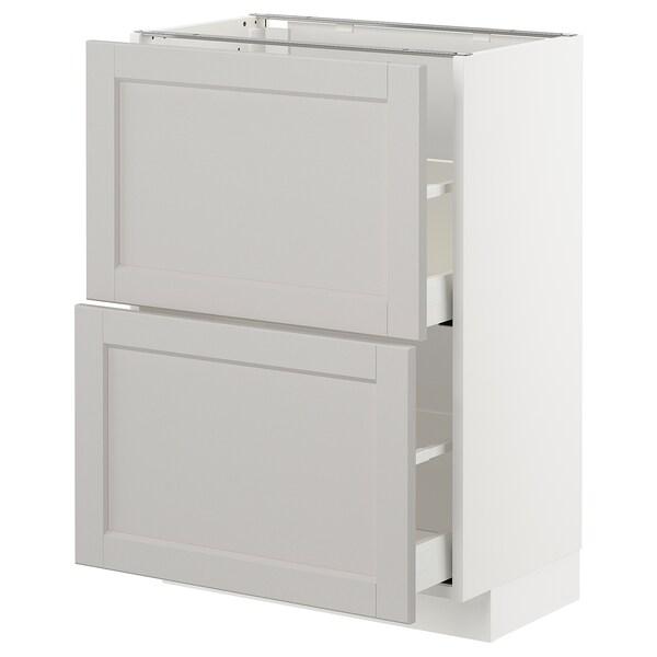 METOD base cabinet with 2 drawers white/Lerhyttan light grey 60.0 cm 39.5 cm 88.0 cm 37.0 cm 80.0 cm