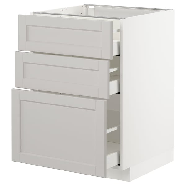 METOD Base cabinet with 3 drawers, white/Lerhyttan light grey, 60x60 cm