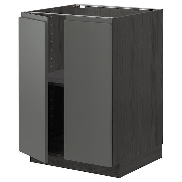 METOD Base cabinet with shelves/2 doors, black/Voxtorp dark grey, 60x60 cm