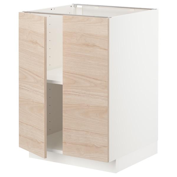METOD Base cabinet with shelves/2 doors, white/Askersund light ash effect, 60x60 cm