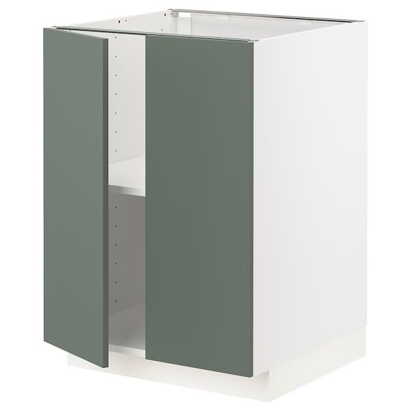 METOD Base cabinet with shelves/2 doors, white/Bodarp grey-green, 60x60 cm