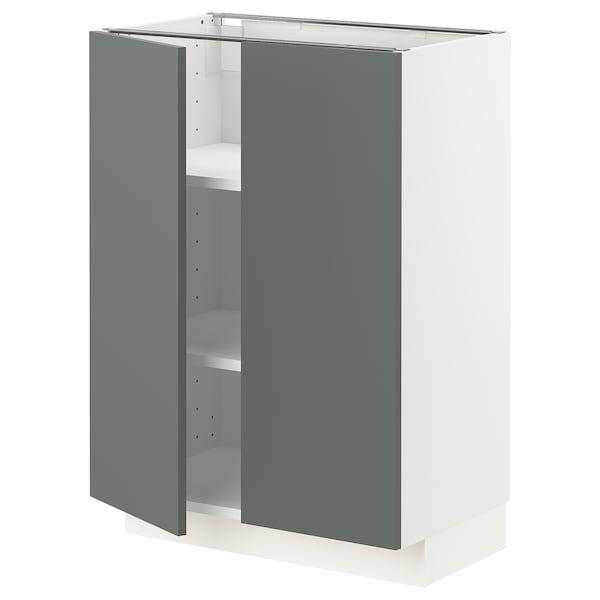 METOD Base cabinet with shelves/2 doors, white/Bodarp grey-green, 60x37 cm