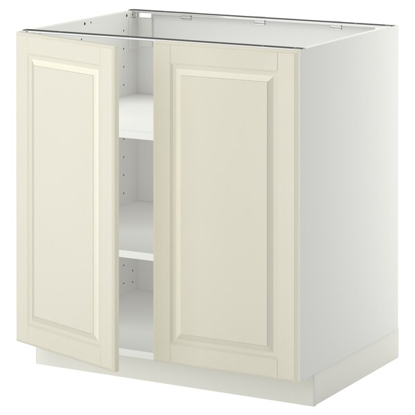 METOD Base cabinet with shelves/2 doors, white/Bodbyn off-white, 80x60 cm