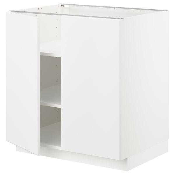 METOD Base cabinet with shelves/2 doors, white/Kungsbacka matt white, 80x60 cm