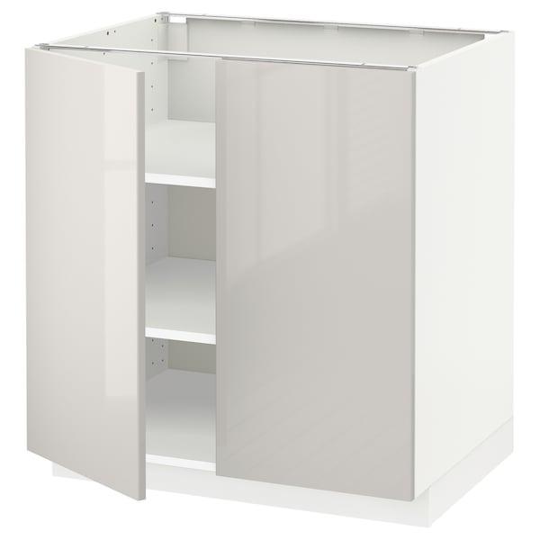 METOD Base cabinet with shelves/2 doors, white/Ringhult light grey, 80x60 cm