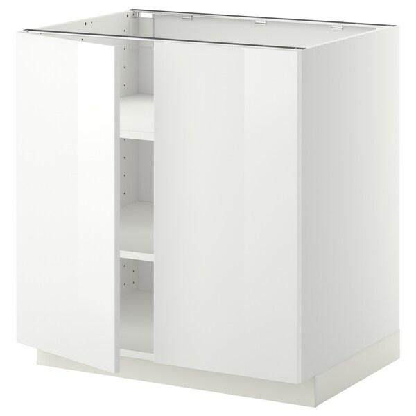 METOD Base cabinet with shelves/2 doors, white/Ringhult white, 80x60 cm