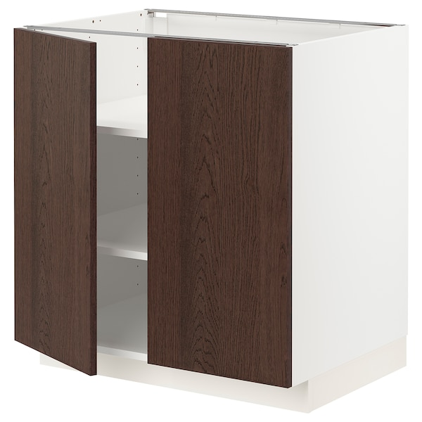 METOD Base cabinet with shelves/2 doors, white/Sinarp brown, 80x60 cm