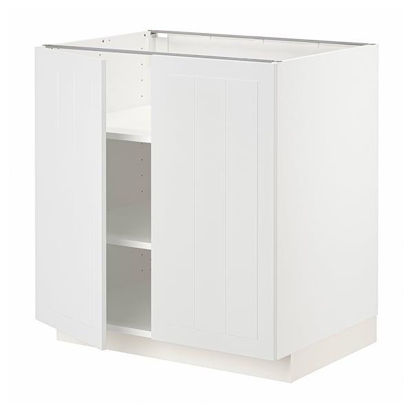 METOD Base cabinet with shelves/2 doors, white/Stensund white, 80x60 cm
