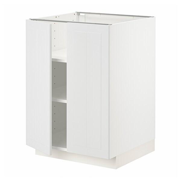 METOD Base cabinet with shelves/2 doors, white/Stensund white, 60x60 cm