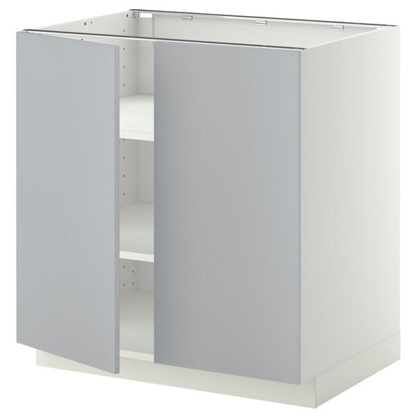 METOD Base cabinet with shelves/2 doors, white/Veddinge grey, 80x60 cm