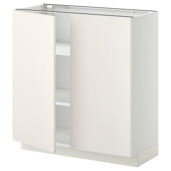 METOD Base cabinet with shelves/2 doors, white/Veddinge white, 80x37 cm