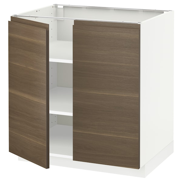 METOD Base cabinet with shelves/2 doors, white/Voxtorp walnut effect, 80x60 cm