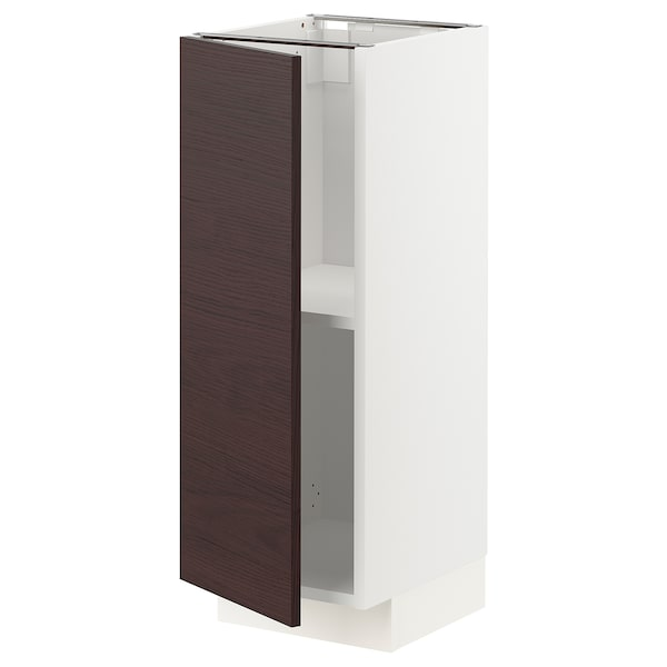 METOD Base cabinet with shelves, white Askersund/dark brown ash effect, 30x37 cm
