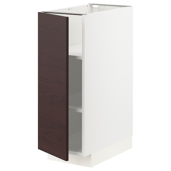 METOD Base cabinet with shelves, white Askersund/dark brown ash effect, 30x60 cm