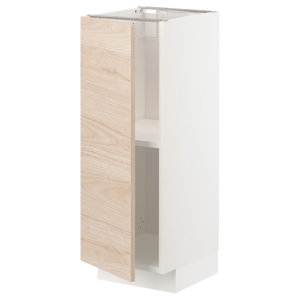 METOD Base cabinet with shelves, white/Askersund light ash effect, 30x37 cm