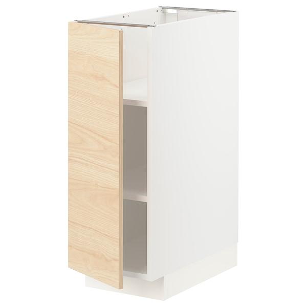 METOD Base cabinet with shelves, white/Askersund light ash effect, 30x60 cm
