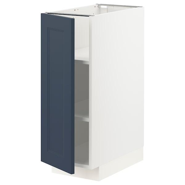 METOD Base cabinet with shelves, white Axstad/matt blue, 30x60 cm