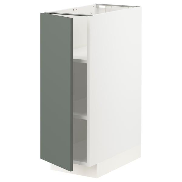 METOD Base cabinet with shelves, white/Bodarp grey-green, 30x60 cm