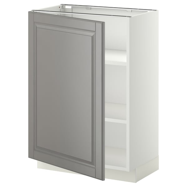 METOD Base cabinet with shelves, white/Bodbyn grey, 60x37 cm