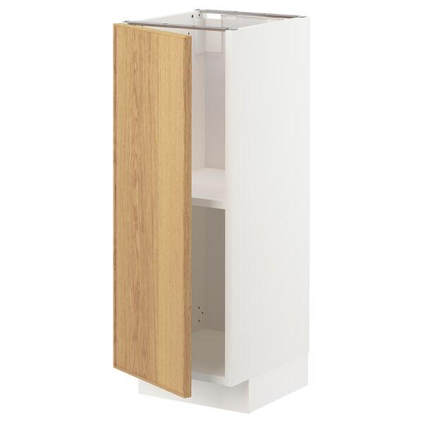 METOD Base cabinet with shelves, white/Ekestad oak, 30x37 cm