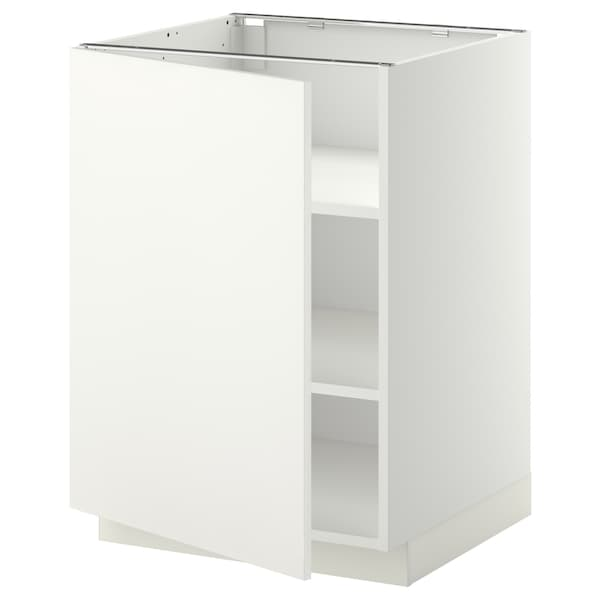 METOD Base cabinet with shelves, white/Häggeby white, 60x60 cm