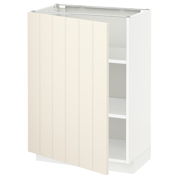 METOD Base cabinet with shelves, white/Hittarp off-white, 60x37 cm