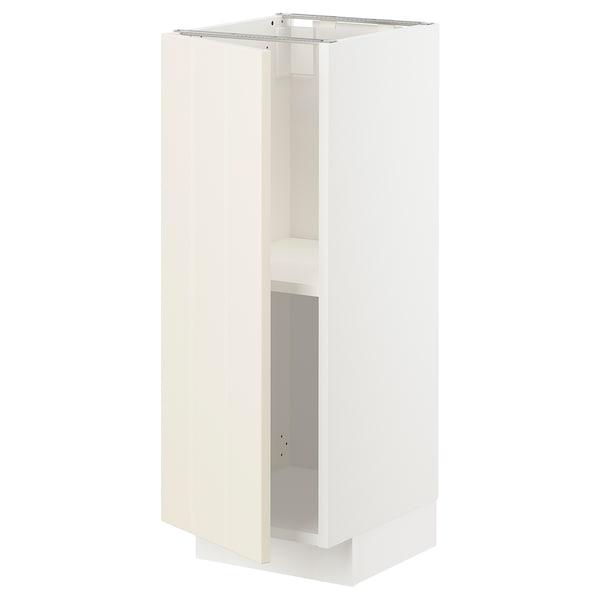 METOD Base cabinet with shelves, white/Hittarp off-white, 30x37 cm