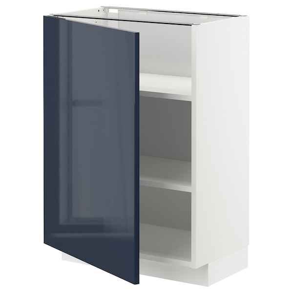 METOD Base cabinet with shelves, white/Järsta black-blue, 60x37 cm
