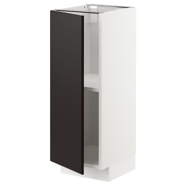METOD Base cabinet with shelves, white/Kungsbacka anthracite, 30x37 cm
