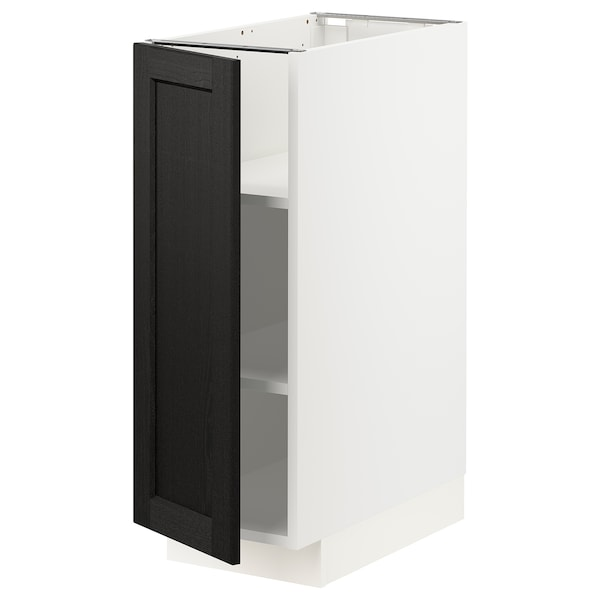 METOD Base cabinet with shelves, white/Lerhyttan black stained, 30x60 cm