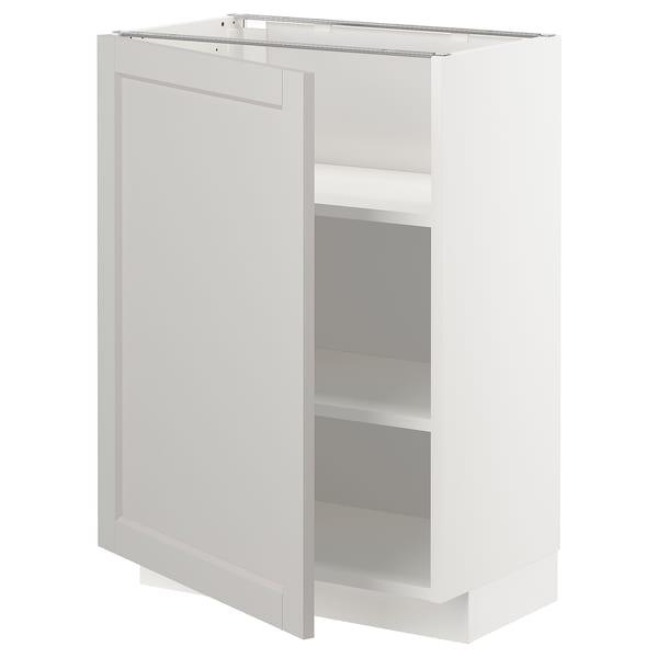 METOD Base cabinet with shelves, white/Lerhyttan light grey, 60x37 cm