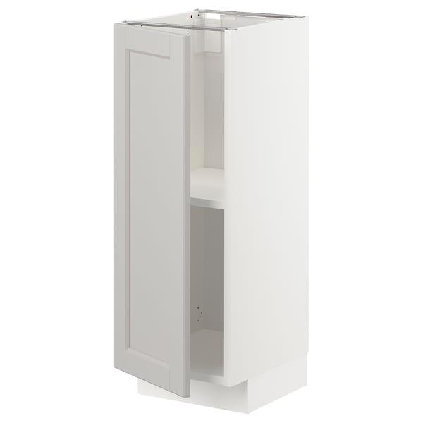 METOD Base cabinet with shelves, white/Lerhyttan light grey, 30x37 cm
