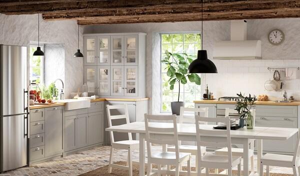 METOD Base cabinet with shelves, white/Lerhyttan light grey, 30x60 cm