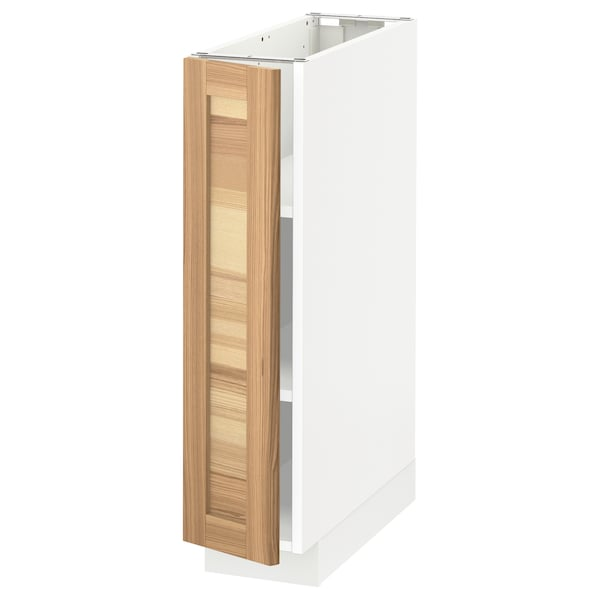 METOD Base cabinet with shelves, white/Torhamn ash, 20x60 cm