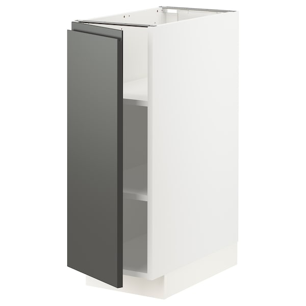 METOD Base cabinet with shelves, white/Voxtorp dark grey, 30x60 cm