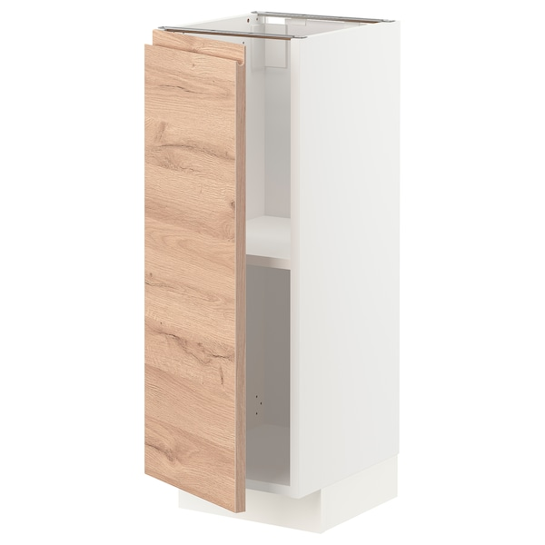 METOD Base cabinet with shelves, white/Voxtorp oak effect, 30x37 cm