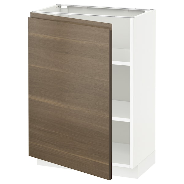 METOD Base cabinet with shelves, white/Voxtorp walnut effect, 60x37 cm