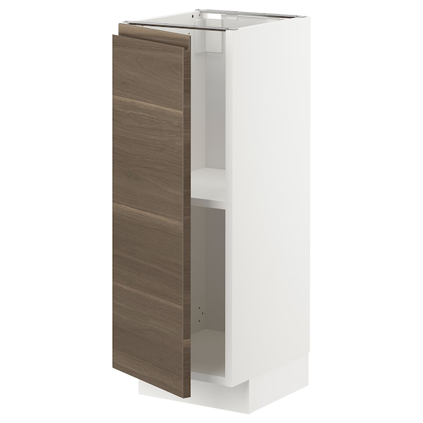 METOD Base cabinet with shelves, white/Voxtorp walnut effect, 30x37 cm