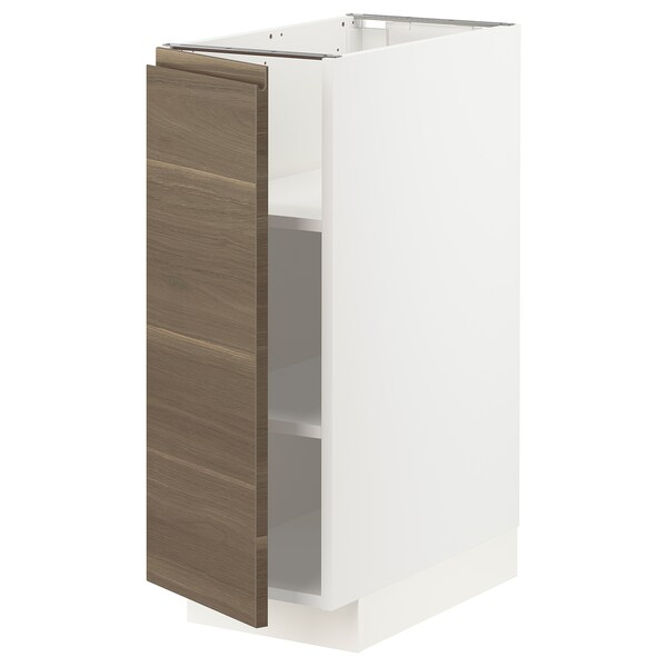 METOD Base cabinet with shelves, white/Voxtorp walnut effect, 30x60 cm