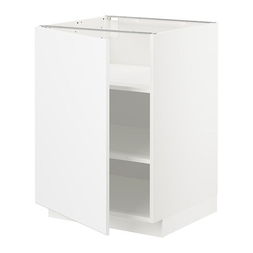 Metod Base Cabinet With Shelves White Kungsbacka Matt White